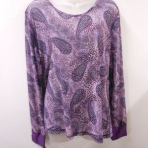 Cowgirl Up Sheer Purple Paisley Top Sz XL